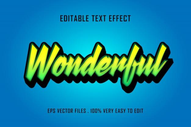 Maravilloso - vector premium de efecto de texto, texto editable
