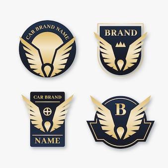 Marca de autos de lujo de diseño plano con alas