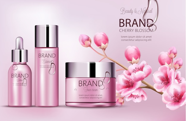 Marca de cosmética rosa cereza. conjunto de botellas con esencia, crema facial, loción. colocación de productos. flor de cerezo. cubierto de rocío. lugar para la marca. s realista