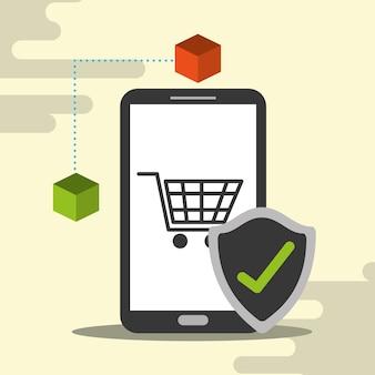 Marca de verificación del blockchain del carro de compras en línea del teléfono inteligente