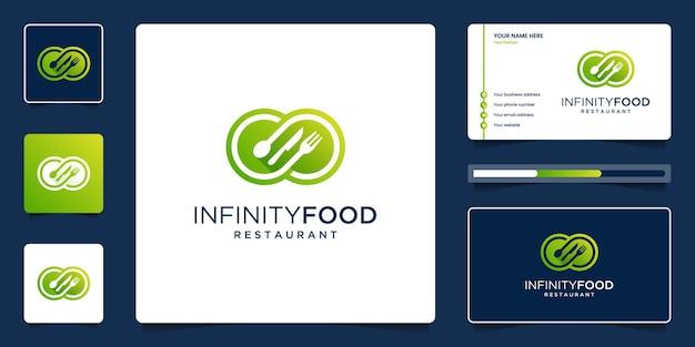 Marca de diseño de logotipo de comida creativa. infinito único con combinación de tenedor, cuchara y cuchillo.