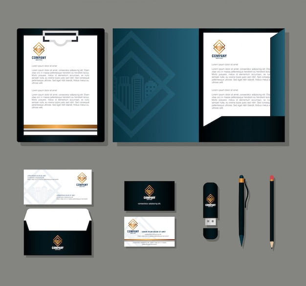 Marca de identidad corporativa, set de papelería comercial sobre fondo gris, negro con signo dorado
