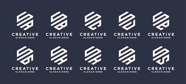 La marca de letra s del monograma con otra en forma hexagonal, el logotipo se puede utilizar para el logotipo de las iniciales del nombre.