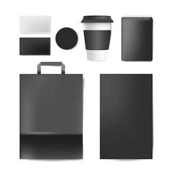 Marca de papel conjunto de vectores de maqueta