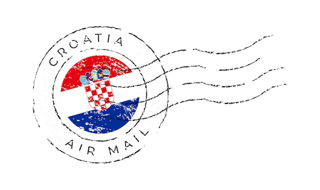 Marca postal de croacia. sello de la bandera nacional aislado en la ilustración del vector del fondo blanco. sello con el patrón oficial de la bandera del país y el nombre de los países