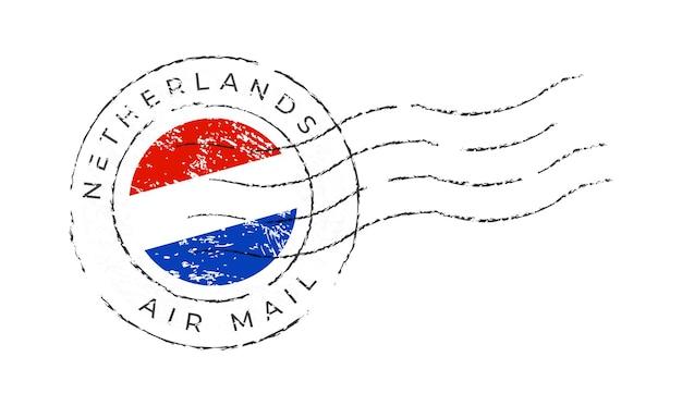 Marca postal de holanda. sello de la bandera nacional aislado en la ilustración del vector del fondo blanco. sello con el patrón oficial de la bandera del país y el nombre de los países