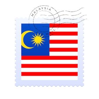 Marca postal de malasia. sello de la bandera nacional aislado en la ilustración del vector del fondo blanco. sello con el patrón oficial de la bandera del país y el nombre de los países