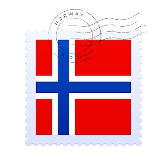Marca postal de noruega. sello de la bandera nacional aislado en la ilustración del vector del fondo blanco. sello con el patrón oficial de la bandera del país y el nombre de los países
