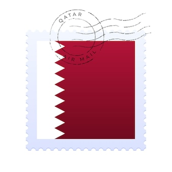 Marca postal de qatar. sello de la bandera nacional aislado en la ilustración del vector del fondo blanco. sello con el patrón oficial de la bandera del país y el nombre de los países