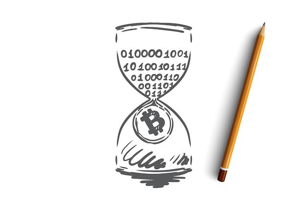 Marca de tiempo, bitcoin, blockchain, moneda, concepto digital. ingresos pasivos dibujados a mano, boceto del concepto de minería.