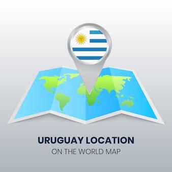 Marca de ubicación de uruguay en el mapa mundial