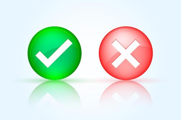 Marca de verificación brillante y botón en forma de cruz en forma redonda