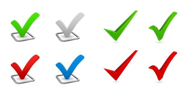Marca de verificación conjunto de iconos 3d