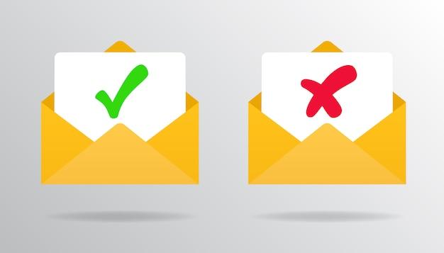 Marca de verificación en el correo de confirmación y correo electrónico de rechazo aprobado o rechazado.