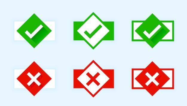 Marca de verificación de estilo plano y botones cruzados