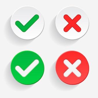 Marca de verificación marca verde y cruz roja de aprobado y rechazado símbolos de círculo sí y no botón para votación, decisión, web icono de ilustración vectorial
