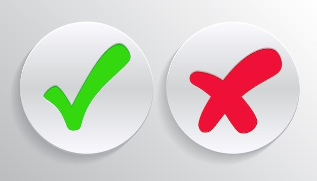 Marca de verificación marca verde y cruz roja de aprobado y rechazado símbolos de círculo sí y no botón para votar, decisión