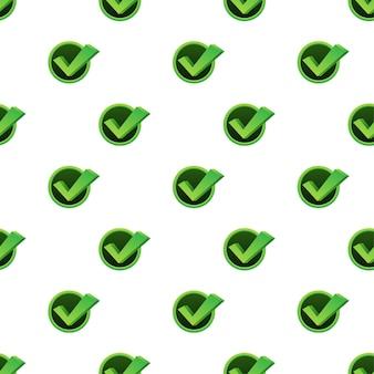Marca de verificación. patrón aprobado verde sobre fondo blanco. ilustración de stock vectorial.