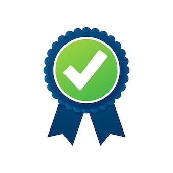 Marca de verificación. pegatina estrella verde aprobada en blanco.
