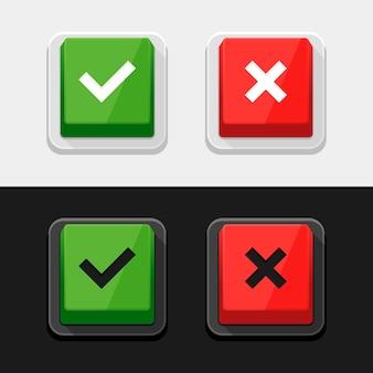 Marca de verificación pegatinas y botones.
