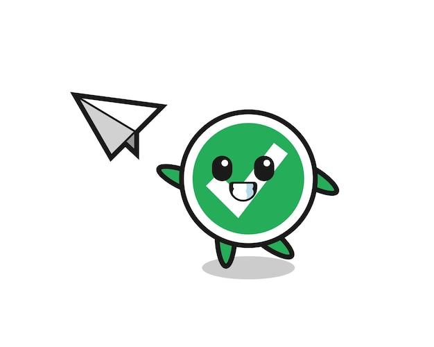 Marca de verificación personaje de dibujos animados lanzando avión de papel, diseño lindo