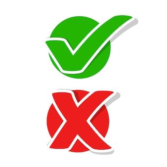 Marca de verificación plana y pegatinas cruzadas