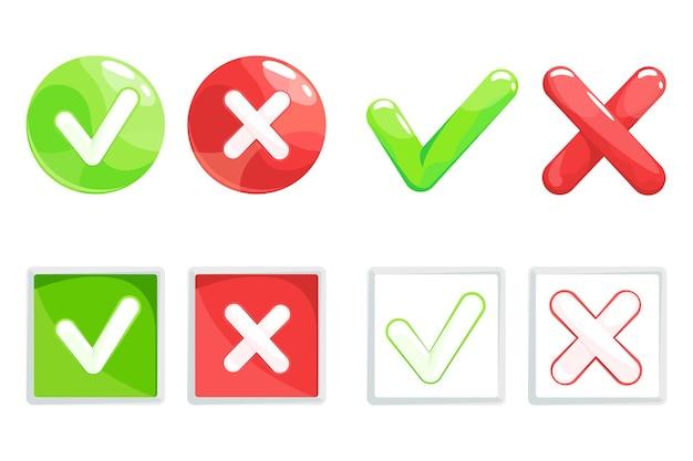 Marca de verificación sí y no símbolo