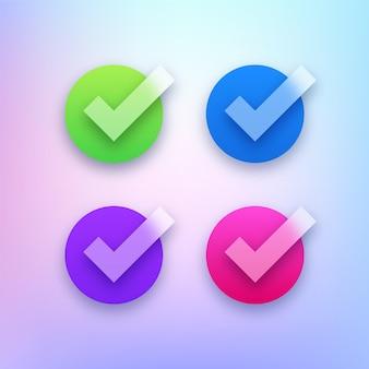 Marca de verificación transparente colorida