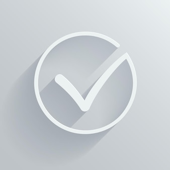 Marca de verificación de vector blanco o garrapata en círculo conceptual