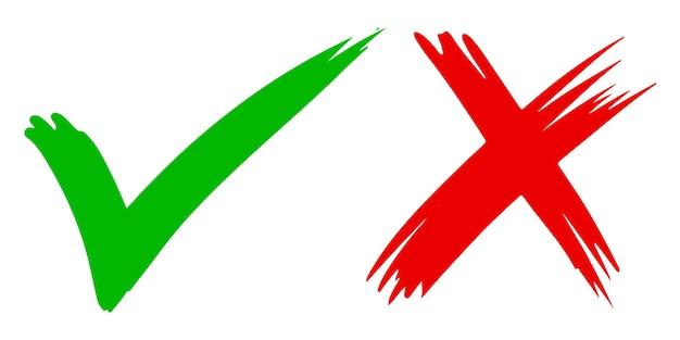 Marca de verificación verde y cruz roja aislado en blanco.