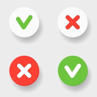 Marca de verificación verde y cruz roja en dos variantes
