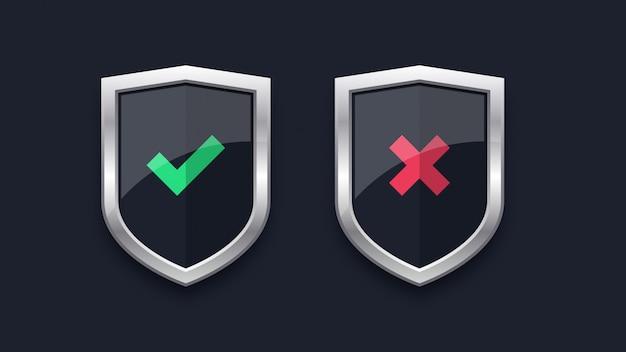 Marca de verificación verde y cruz roja en las insignias