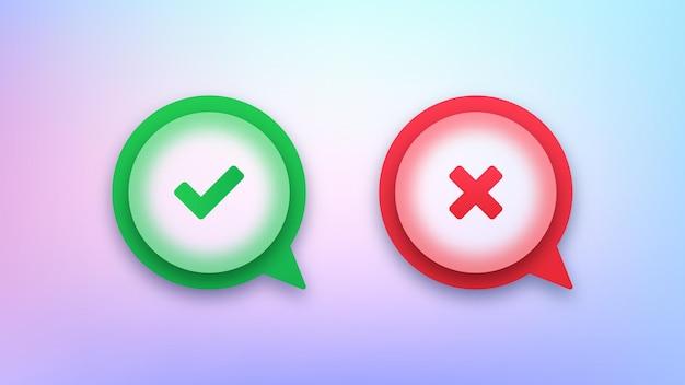 Marca de verificación verde y los iconos de discurso de burbuja de la cruz roja