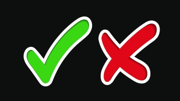Marca de verificación verde, marca de aprobación. cruz roja, signo de rechazo.