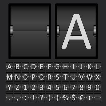 Marcador con letras y números en panel mecánico.
