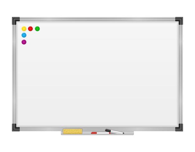 Marcador magnético de pizarra vacía para presentaciones, formación y educación aislado en blanco