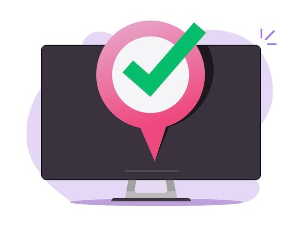 Marcador de mapa de puntero gps en el icono en línea de la pantalla del dispositivo de computadora