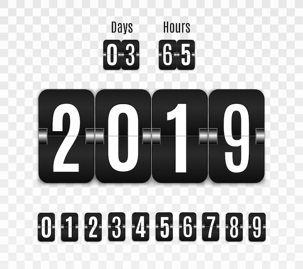 Marcador mecánico. conjunto de números aislados en un fondo transparente. contador de horas diseño de cuenta regresiva vintage retro con tiempo. números.