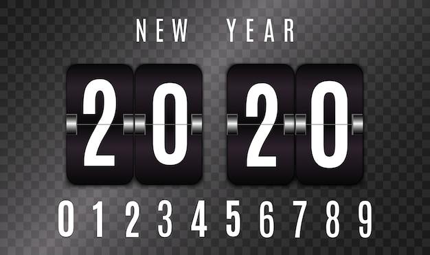Marcador mecánico. conjunto de números aislados sobre fondo transparente. contador de horas diseño de cuenta atrás vintage retro con tiempo. números. templat