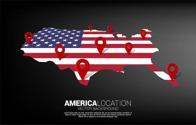 Marcador de pin de ubicación 3d en el mapa de américa. concepto de infografía del sistema de navegación gps de ee. uu.