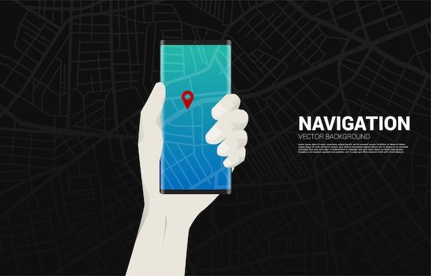 Marcador de pines gps 3d y teléfono móvil en mano. concepto de ubicación y lugar de instalación, tecnología gps