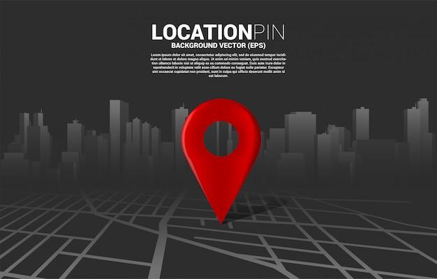 Marcador de ubicación 3d en el mapa de carreteras de la ciudad. concepto para infografía del sistema de navegación gps