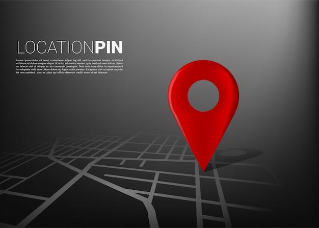 Marcador de ubicación 3d en el mapa de carreteras de la ciudad. concepto para infografía del sistema de navegación gps.