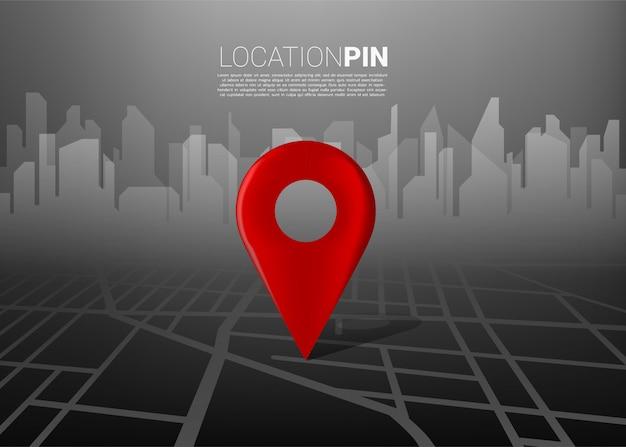 Marcador de ubicación 3d en el mapa de carreteras de la ciudad con siluetas de construcción. concepto para infografía del sistema de navegación gps.