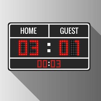 Marcador de vector deportivo. pantalla de juego de puntuación, ilustración de resultado de información de tiempo digital