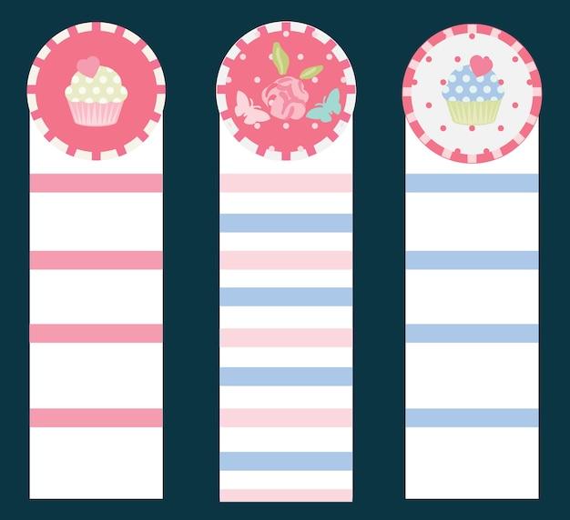 Marcadores de color rosa y azul vintage cupcake and flower
