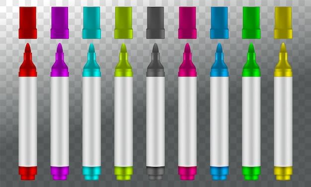 Marcadores de colores aislados sobre fondo transparente