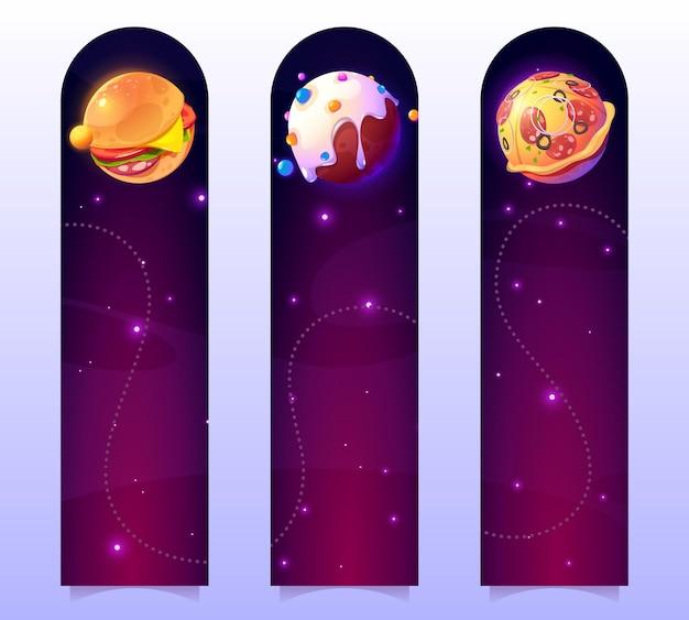 Marcadores divertidos con planetas de alimentos en el espacio exterior vector banners verticales con ilustración de dibujos animados o ...