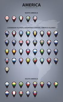 Marcadores de mapa con banderas de américa. colores originales