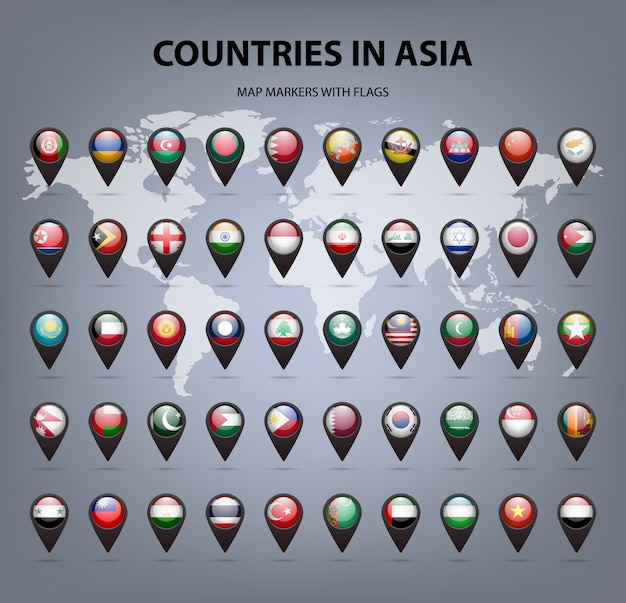 Marcadores de mapa con banderas de asia. colores originales